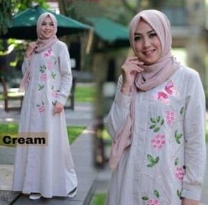Baju Gamis Zahra Warna Cream Bahan Katun Yanded