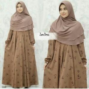 Baju Muslim Terbaru Online Zara Brownie Syar'i Warna Coklat Bahan Monalisa