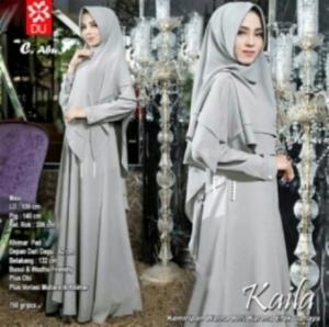 Baju Muslim Wanita Kaila Syar'i Warna Abu Bahan Wollycrepe