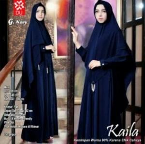Baju Muslim Wanita Kaila Syar'i Warna Navy Bahan Wollycrepe