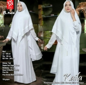 Baju Muslim Wanita Kaila Syar'i Warna Putih Bahan Wollycrepe