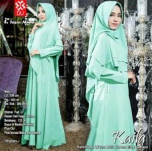 Baju Muslim Wanita Kaila Syar'i Warna Tosca Muda Bahan Wollycrepe