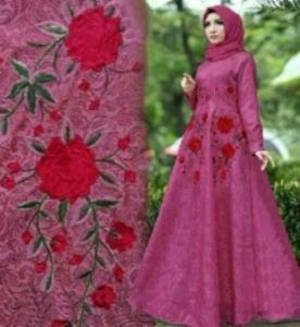 Baju Muslim Wanita Laluna Bahan Embos Warna Fanta