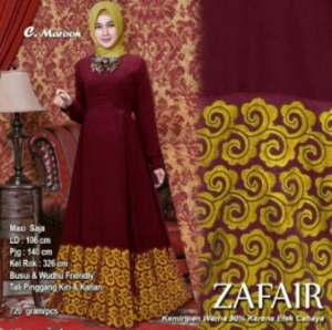 Baju Muslim Wanita Terbaru Zafair Warna Maroon Bahan Balotelifes