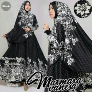 Baju Muslim Wanita Vanesa Syar'i Warna Black Bahan Maxmara