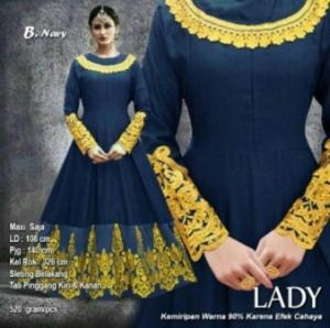 Baju Pesta Muslim Lady Warna Navy Bahan Balotelifes