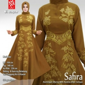 Baju Pesta Muslim Safira Warna Coklat Bahan Woolpeach