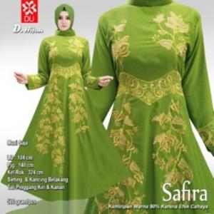 Baju Pesta Muslim Safira Warna Hijau Bahan Woolpeach