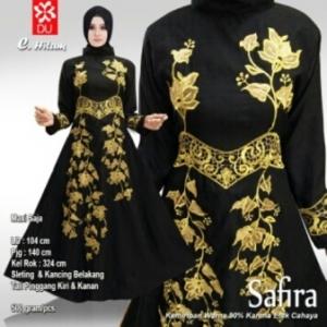 Baju Pesta Muslim Safira Warna Hitam Bahan Woolpeach