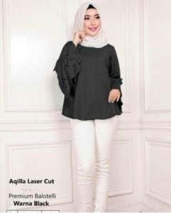 Blouse Wanita Terbaru Aqila Laser Warna Black Bahan Baloteli