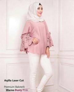 Blouse Wanita Terbaru Aqila Laser Warna Dusty Pink Bahan Baloteli