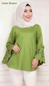 Blouse Wanita Terbaru Aqila Laser Warna Green Bahan Baloteli
