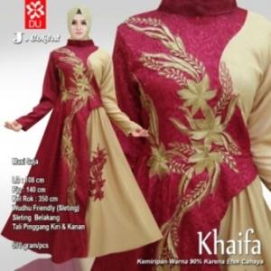 Busana Muslim Pesta Terbaru Khaifa Warna Coklat Bahan Jacquard