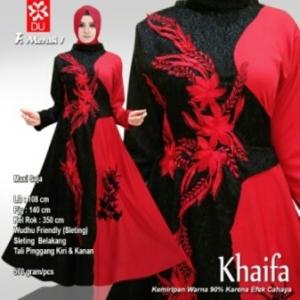 Busana Muslim Pesta Terbaru Khaifa Warna Merah Bahan Jacquard
