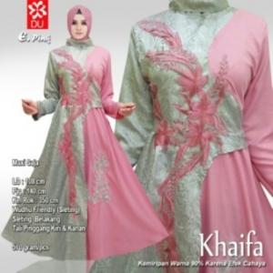 Busana Muslim Pesta Terbaru Khaifa Warna Pink Bahan Jacquard