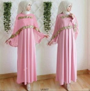 Busana Muslim Pesta Ukuran Kecil Anes Warna Dusty Pink Bahan Moscrepe