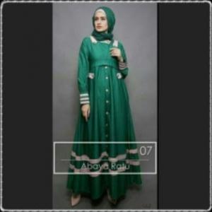 Busana Muslim Trendy Abaya Ratu Warna Hijau Bahan Baloteli