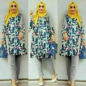 Busana Muslim Trendy Terbaru Palupi Set Warna Grey Bahan Katun Linen