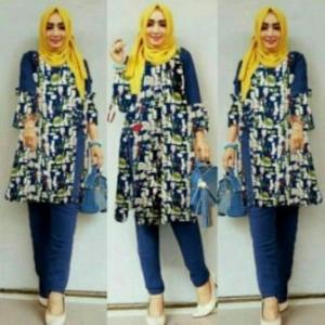 Busana Muslim Trendy Terbaru Palupi Set Warna Navy Bahan Katun Linen