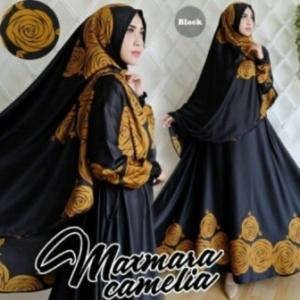 Gamis Cantik Camelia Syar'i Warna Black Bahan Maxmara