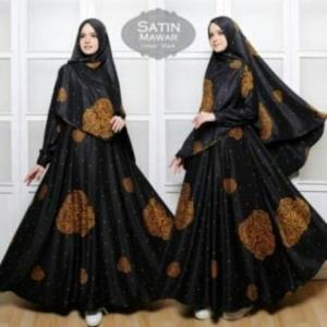 Gamis Cantik Terbaru Mawar Syar'i warna Black Bahan Maxmara
