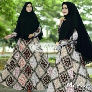 Gamis Muslimah Cantik Marisa Syar'i Warna Black Bahan Monalisa