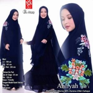 Gamis Muslimah Premium Ahliyah Syar'i Warna Navy Bahan Woolpeach