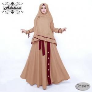 Gamis Muslimah Syar'i Adelina Syar'i Warna Coklat Bahan Maxmara