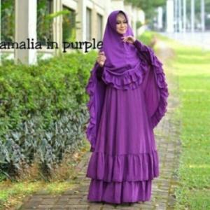 Gamis Pesta Amalia Syar'i Modern Warna Purple Bahan Ceruty