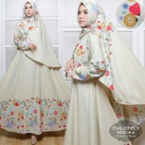 Agen Baju Gamis Terbaru Misoka Syar'i Warna Broken White Bahan Baloteli Untuk Daerah Bintaro Dan Pamulang