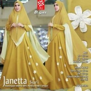 Agen Baju Pesta Muslim Untuk Wanita Janetta Syar'i Warna Gold Bahan Woolpeach