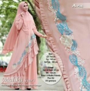 Agen Gamis Pesta Malika Syar'i Warna Pink Bahan Ceruty Lapis Furing Aplikasi Bordir