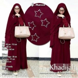 Baju Gamis Pesta Syar'i Khadijah Syar'i WArna Maroon Kombinasi Bahan Spandex dan Ceruty