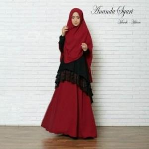 Baju Muslim Pesta Murah Ananda Syar'i Warma Merah Hitam Bahan Misbie