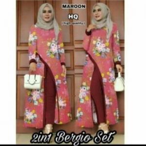 Distributor Baju Muslim Terbaru Trendy Bergio Set Warna Maroon Tunik Bahan Waffle Import
