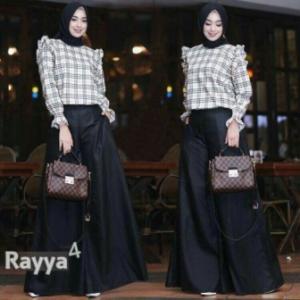 Distributor Busana Muslim Trendy Rayya 2 in 1 Warna Hitam Bahan Katun Kombinasi