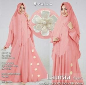 Jual Baju Gamis Cantik Laura Syar'i Warna Pink Salem Bahan Wollycrepe