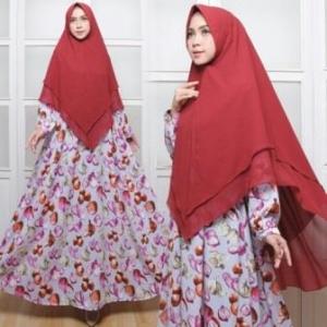 Jual Baju Gamis Cantik Onion Syar'i Warna Grey Bahan Monalisa