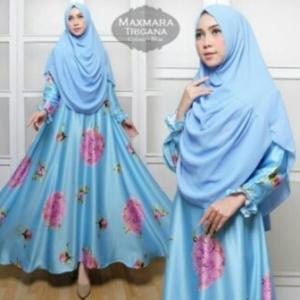 Jual Baju Muslim Wanita Murah Trigana Syar'i Warna Biru Bahan Maxmara