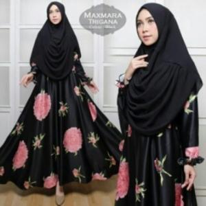 Jual Baju Muslim Wanita Murah Trigana Syar'i Warna Hitam Bahan Maxmara