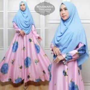 Jual Baju Muslim Wanita Murah Trigana Syar'i Warna Pink Bahan Maxmara