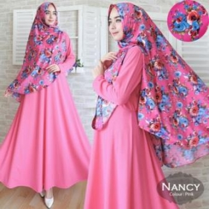 Jual Baju Muslim Wanita Nancy Syar'i Warna Fanta Bahan Misbie