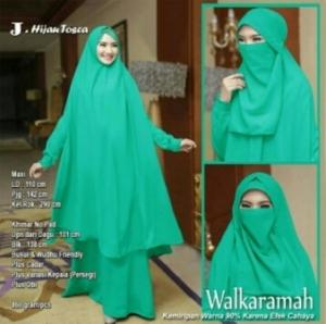 Jual Baju Muslim Wanita Walkaramah Syar'i Warna Hijau Tosca Bercadar