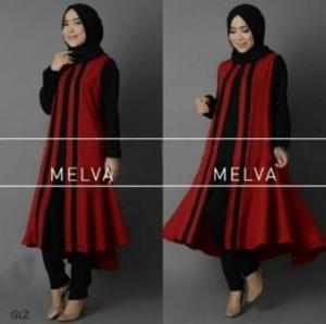 Jual Busana Muslim Modern Melva Set Warna Black Bahan Crepe