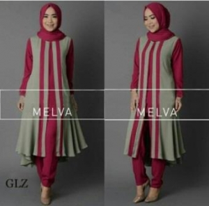 Jual Busana Muslim Modern Melva Set Warna Fuscia Bahan Crepe