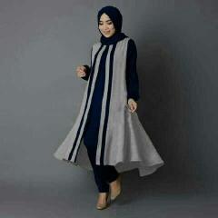 Jual Busana Muslim Modern Melva Set Warna Navy Bahan Crepe