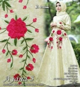 Jual Busana Muslim Pesta Modis Ayana Warna Cream Bahan Jacquard
