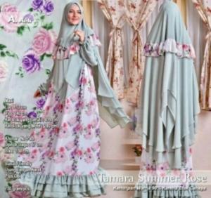 Jual Busana Muslim Terbaru Cantik Tamara Summer Rose Syar'i Warna Abu Bahan Wollycrepe