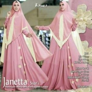 Jual Dropship Busana Muslim Wanita Murah Janetta Syar'i Warna Pink Bahan Wollycrepe