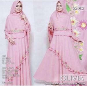 Jual Gamis Muslimah Olivia Syar'i Warna Pink Bahan Wollycrepe